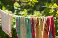 Wiszący ręczniki w ogródzie na linii Obrazy Stock