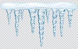 Wiszący sople z śniegiem Zdjęcia Stock