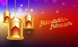 Wiszący złoci lampiony na błyszczącym tle dla Islamskiego świętego miesiąca zamocowanie, Ramadan Kareem royalty ilustracja