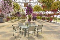 Wiszących kwiatów koszy plenerowy miejsca siedzące Zdjęcie Stock
