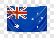 Wisz?ca flaga Australia Wsp?lnota Narod?w Australia Flaga pa?stowowa poj?cie royalty ilustracja