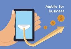 Wisząca ozdoba dla biznesu Mobilna technologia dla celnego przyrosta Ilustracja Wektor