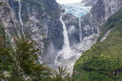 Wiszący lodowiec Queulat park narodowy, Chile Zdjęcia Stock