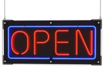 Wiszący Neonowy znak z słowem Otwartym Obrazy Stock