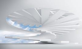 Wit abstract binnenland met spiraalvormige treden royalty-vrije illustratie