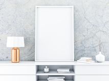 Wit affichekader die zich op de moderne dienst met mooie lamp bevinden stock illustratie