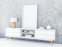 Wit affichekader die zich op de moderne dienst in modern binnenland met concrete muur bevinden stock illustratie