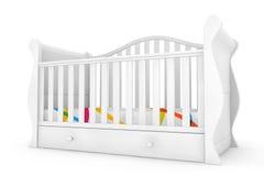 Wit Babybed het 3d teruggeven Stock Afbeeldingen