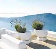 Wit balkon met een mening Stock Afbeeldingen