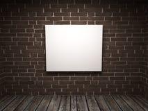 Wit beeld in een ruimte tegen een baksteen wal stock illustratie