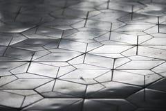 Wit betegeld patroon met weerspiegelende lichten in perspectief stock afbeelding