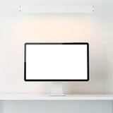 Wit binnenland met computervertoning Stock Foto's