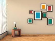 Wit binnenland met kleurrijke schilderijen en lamp Royalty-vrije Stock Afbeelding