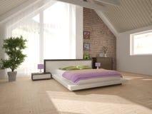 Wit binnenlands ontwerp van slaapkamer Stock Foto's