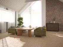 Wit binnenlands ontwerp van woonkamer Stock Foto