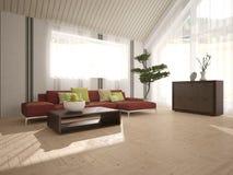 Wit binnenlands ontwerp van woonkamer Royalty-vrije Stock Afbeelding