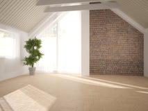 Wit binnenlands ontwerp van woonkamer Stock Afbeelding