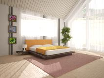 Wit binnenlands ontwerp van woonkamer Royalty-vrije Stock Afbeeldingen