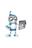 Wit & Blauw Robotkarakter Stock Afbeeldingen