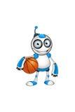 Wit & Blauw Robotkarakter Stock Foto