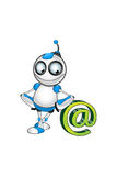 Wit & Blauw Robotkarakter Stock Fotografie