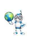 Wit & Blauw Robotkarakter Stock Foto's
