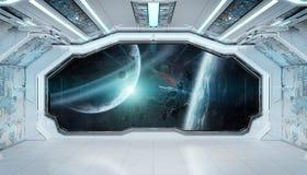 Wit blauw ruimteschip futuristisch binnenland met venstermening bij ruimte en planeten het 3d teruggeven stock illustratie