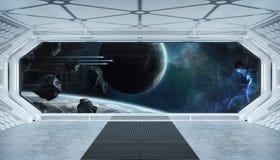Wit blauw ruimteschip futuristisch binnenland met venstermening bij ruimte en planeten het 3d teruggeven royalty-vrije illustratie