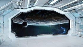 Wit blauw ruimteschip futuristisch binnenland met venstermening bij ruimte en planeten het 3d teruggeven vector illustratie