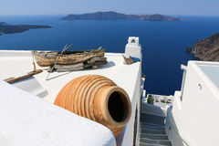 Wit-blauwe Santorini Stock Foto