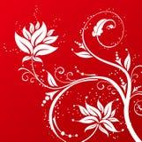 Wit bloempatroon op rode achtergrond stock illustratie