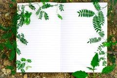 Wit boek en blad Stock Afbeelding