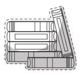 Wit boeken velen samen pictogram stock illustratie