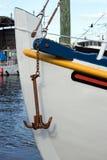 Wit Boot en Anker Stock Foto