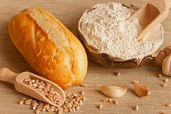 Wit brood met ingrediënten en knoflook Stock Fotografie
