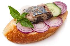 Wit brood met vissen en groenten Stock Afbeelding