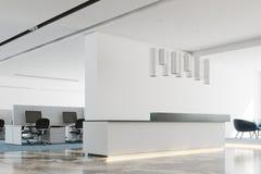 Wit bureau, de witte en zwarte kant van het ontvangstbureau Stock Afbeeldingen