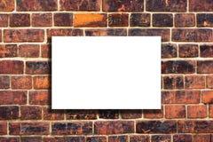 Wit canvas op een oude bakstenen muur Stock Afbeelding