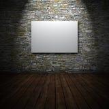 Wit canvas op steenmuur Royalty-vrije Stock Foto