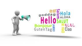 Wit cijfer die in een megafoon schreeuwen om hello in verschillende talen te openbaren vector illustratie