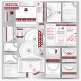 Wit collectief identiteitsmalplaatje met Oekraïens volkspatroon Vectorbedrijfstijl voor brandbook Royalty-vrije Stock Afbeeldingen