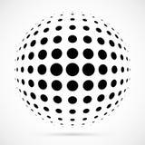 Wit 3D halftone gebied Gestippelde sferische achtergrond embleem Royalty-vrije Stock Foto's