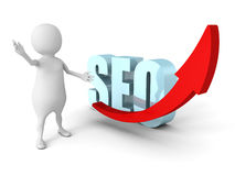 Wit 3d Person Present Success SEO Concept Arrow Royalty-vrije Stock Foto