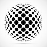 Wit 3D vector halftone gebied Gestippelde sferische achtergrond embleem royalty-vrije illustratie