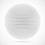 Wit 3D vector halftone gebied Gestippelde sferische achtergrond embleem Stock Fotografie