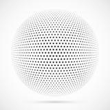 Wit 3D vector halftone gebied Gestippelde sferische achtergrond embleem Stock Foto