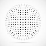 Wit 3D vector halftone gebied Gestippelde sferische achtergrond embleem Royalty-vrije Stock Afbeelding