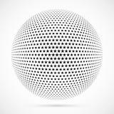 Wit 3D vector halftone gebied Gestippelde sferische achtergrond embleem Stock Afbeelding