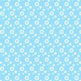 Wit de stijlenpatroon van de mengelingsbloem op zachte blauwe achtergrond Stock Foto's