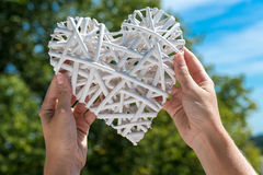 Wit die hart door handen tegen blauwe hemel wordt gehouden en bomen in open Royalty-vrije Stock Afbeelding